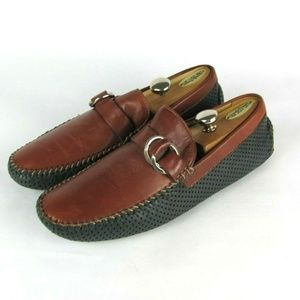 ROBERT ZUR Leather Brown Navy Driving Loafers 10.5